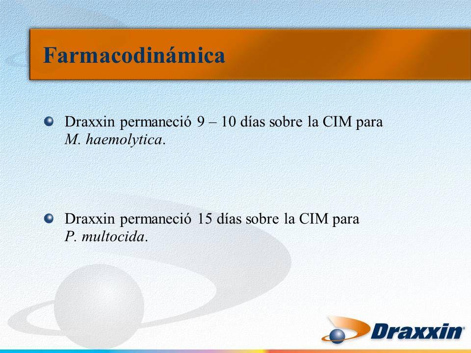 Draxxin permaneció 9 – 10 días sobre la CIM para M. haemolytica. Draxxin permaneció 15 días sobre la CIM para P. multocida.