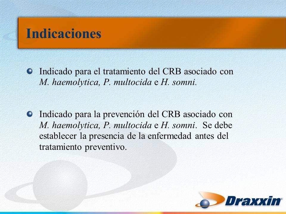 Indicaciones Indicado para el tratamiento del CRB asociado con M. haemolytica, P. multocida e H. somni. Indicado para la prevención del CRB asociado c