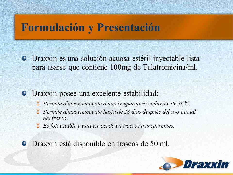Formulación y Presentación Draxxin es una solución acuosa estéril inyectable lista para usarse que contiene 100mg de Tulatromicina/ml. Draxxin posee u