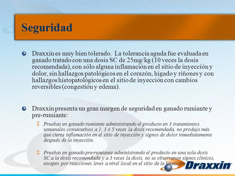 Seguridad Draxxin es muy bien tolerado. La tolerancia aguda fue evaluada en ganado tratado con una dosis SC de 25mg/kg (10 veces la dosis recomendada)