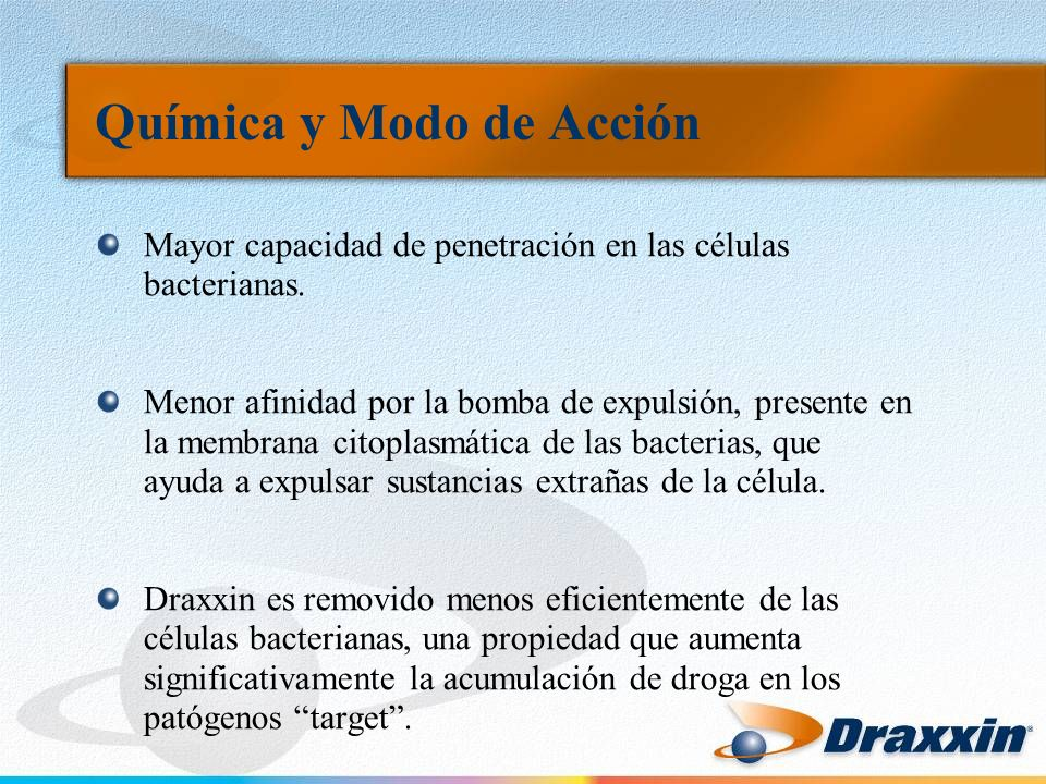 Formulación y Presentación Draxxin es una solución acuosa estéril inyectable lista para usarse que contiene 100mg de Tulatromicina/ml.