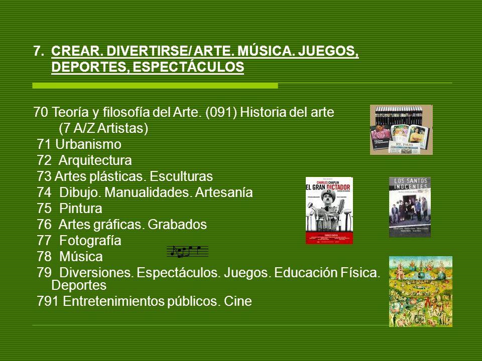 7.CREAR. DIVERTIRSE/ ARTE. MÚSICA. JUEGOS, DEPORTES, ESPECTÁCULOS 70 Teoría y filosofía del Arte. (091) Historia del arte (7 A/Z Artistas) 71 Urbanism