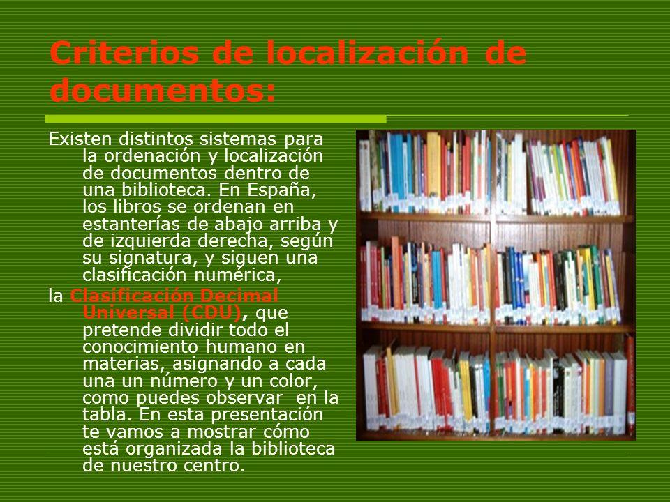 Criterios de localización de documentos: Existen distintos sistemas para la ordenación y localización de documentos dentro de una biblioteca. En Españ
