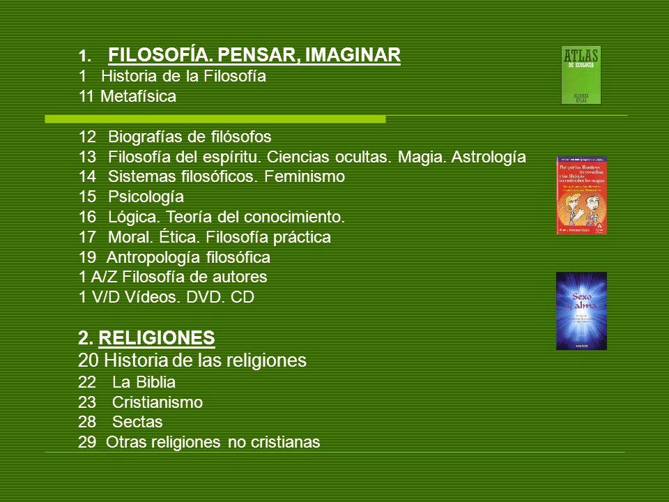 1. FILOSOFÍA. PENSAR, IMAGINAR 1 Historia de la Filosofía 11 Metafísica 12 Biografías de filósofos 13 Filosofía del espíritu. Ciencias ocultas. Magia.