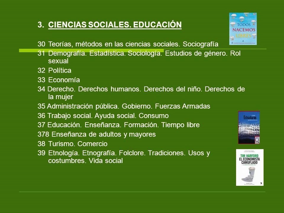 3.CIENCIAS SOCIALES. EDUCACIÓN 30Teorías, métodos en las ciencias sociales. Sociografía 31Demografía. Estadística. Sociología. Estudios de género. Rol