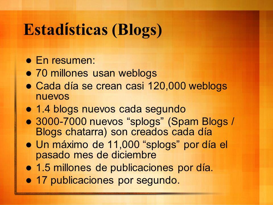 Estad í sticas (Blogs) En resumen: 70 millones usan weblogs Cada día se crean casi 120,000 weblogs nuevos 1.4 blogs nuevos cada segundo 3000-7000 nuev