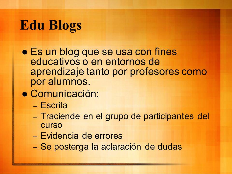 Tipos de Edublogs: Blogs de: – Profesores – Estudiantes – Colectivos – centros, escuelas,bibliotecas – disciplinas académicas – Clase – Blogfolios – Investigación – Revista – Tipo boletín electrónico