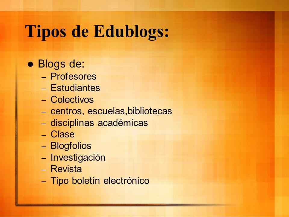 Tipos de Edublogs: Blogs de: – Profesores – Estudiantes – Colectivos – centros, escuelas,bibliotecas – disciplinas académicas – Clase – Blogfolios – I