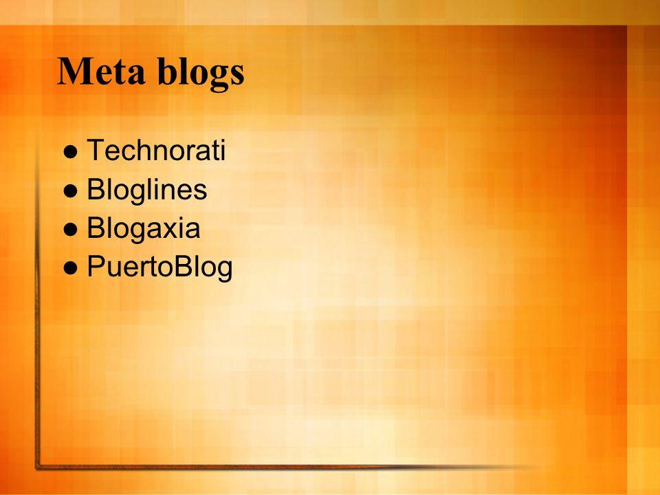 Meta blogs Technorati Bloglines Blogaxia PuertoBlog