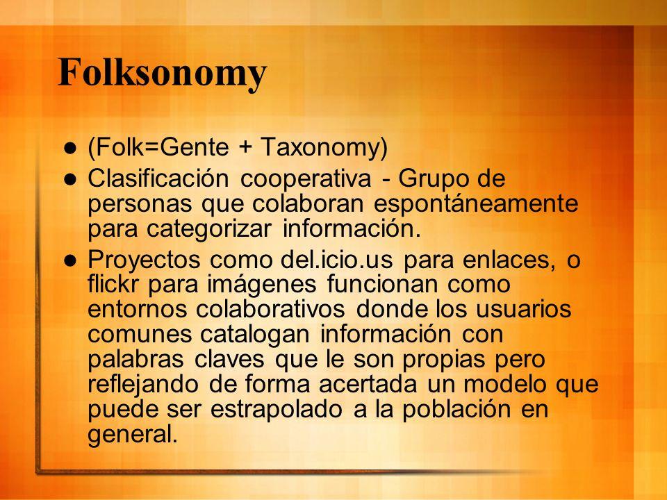 Folksonomy (Folk=Gente + Taxonomy) Clasificación cooperativa - Grupo de personas que colaboran espontáneamente para categorizar información. Proyectos