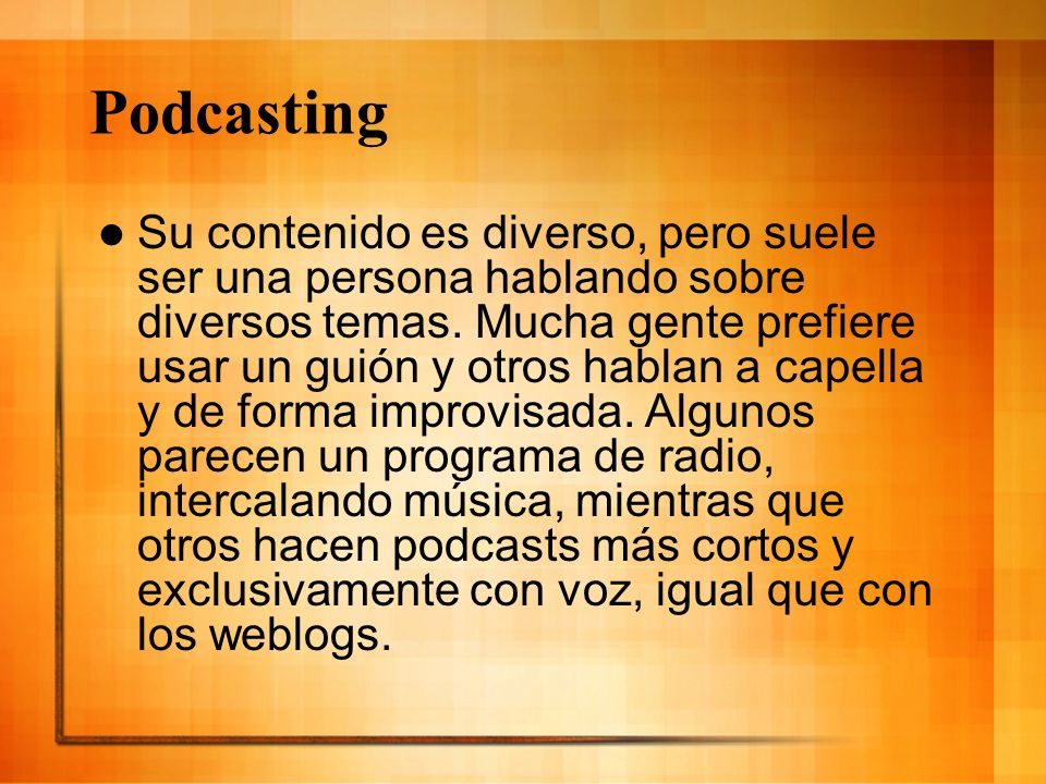 Podcasting (enlaces) Podcasting: – www.podomatic.com www.podomatic.com – http://www.podcast.net/ http://www.podcast.net/ – http://podcast.podcast-es.org/ http://podcast.podcast-es.org/ Hacer Podcasting: – http://juicereceiver.sourceforge.net/index.