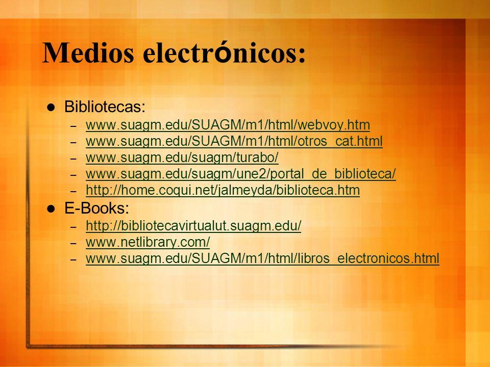 Medios electr ó nicos: Bibliotecas: – www.suagm.edu/SUAGM/m1/html/webvoy.htm www.suagm.edu/SUAGM/m1/html/webvoy.htm – www.suagm.edu/SUAGM/m1/html/otro