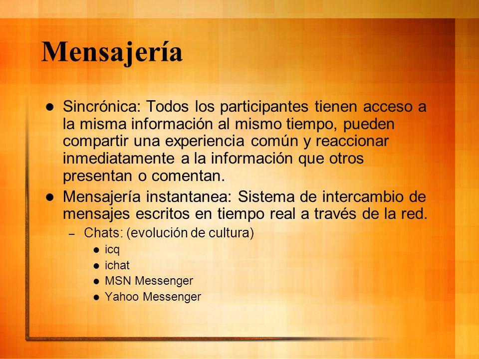 Mensajería Sincrónica: Todos los participantes tienen acceso a la misma información al mismo tiempo, pueden compartir una experiencia común y reaccion
