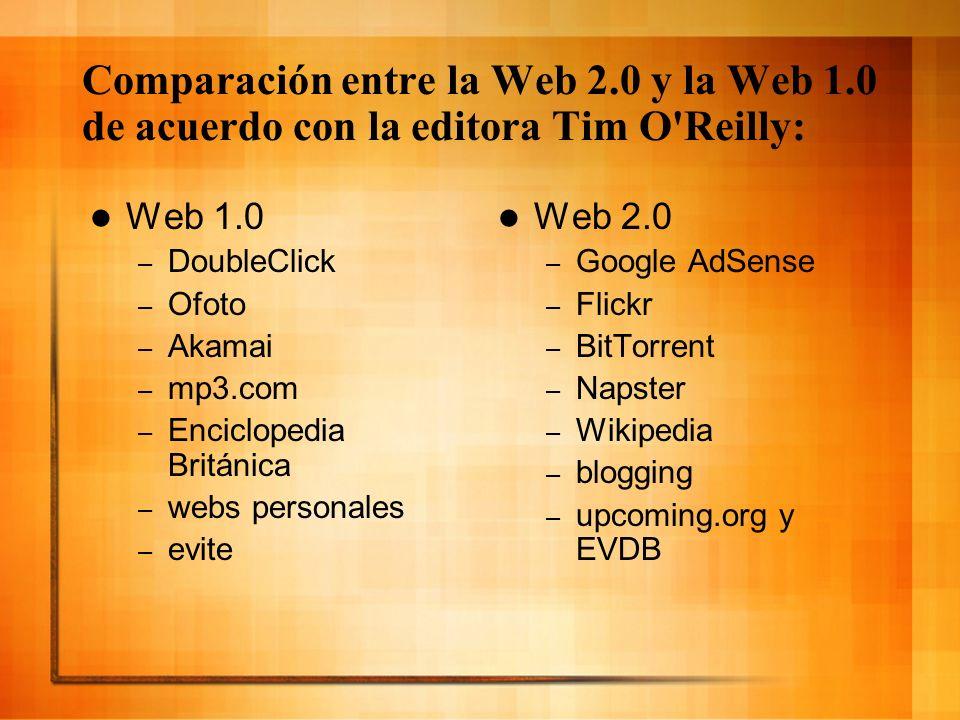 Comparación entre la Web 2.0 y la Web 1.0 de acuerdo con la editora Tim O Reilly: Web 1.0 – especulación de nombres de dominios – páginas vistas – screen scraping – publicar – sistema de gestión de contenidos – directorios (taxonomía) – stickiness Web 2.0 – optimización de los motores de búsqueda – coste por clic – servicios web – participación – wiki – etiquetas (folcsonomía) – sindicación Web 2.0 – optimización de los motores de búsqueda – coste por clic – servicios web – participación – wiki – etiquetas (folcsonomía) – sindicación