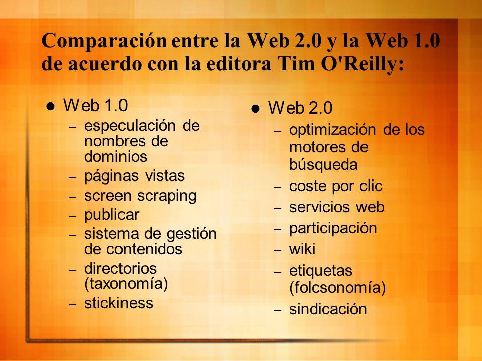 Comparación entre la Web 2.0 y la Web 1.0 de acuerdo con la editora Tim O'Reilly: Web 1.0 – especulación de nombres de dominios – páginas vistas – scr
