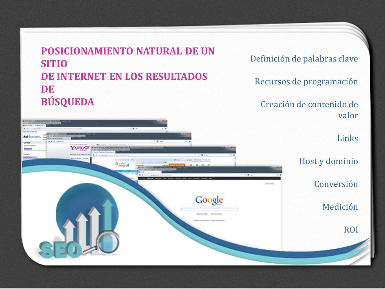 Definición de palabras clave Recursos de programación Creación de contenido de valor Links Host y dominio Conversión Medición ROI POSICIONAMIENTO NATU