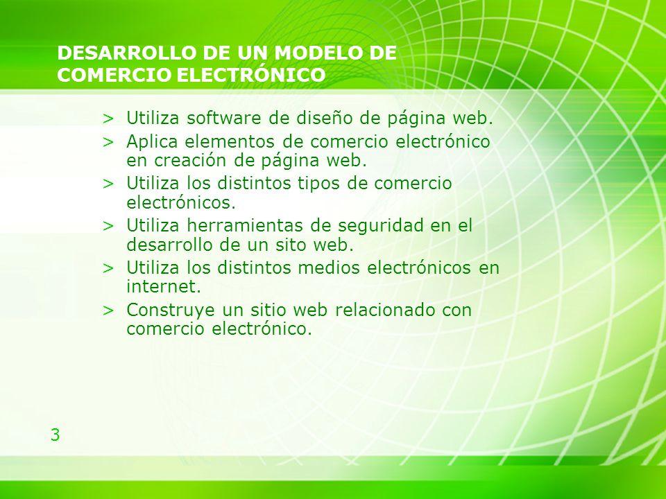 3 DESARROLLO DE UN MODELO DE COMERCIO ELECTRÓNICO >Utiliza software de diseño de página web. >Aplica elementos de comercio electrónico en creación de