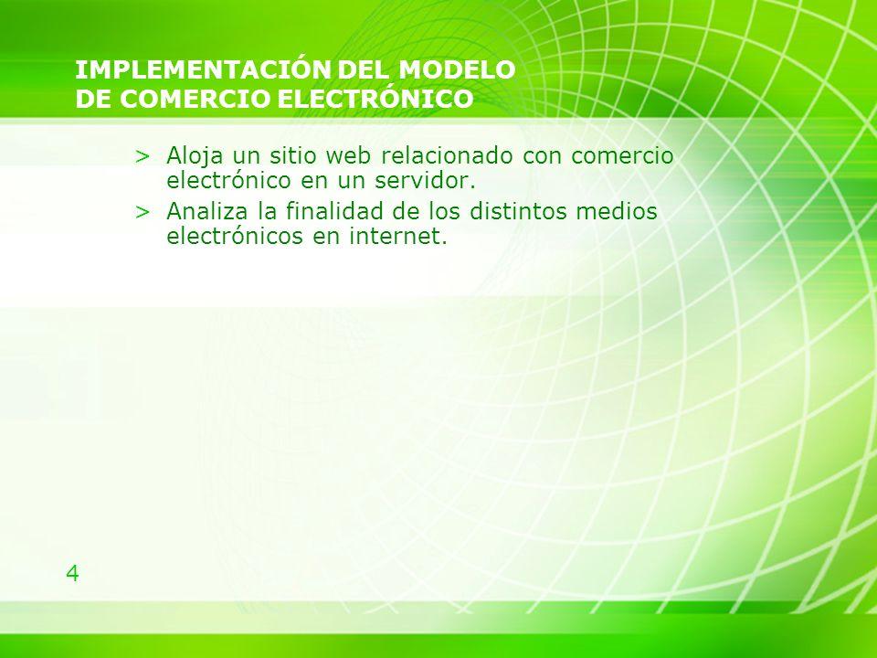 4 IMPLEMENTACIÓN DEL MODELO DE COMERCIO ELECTRÓNICO >Aloja un sitio web relacionado con comercio electrónico en un servidor. >Analiza la finalidad de