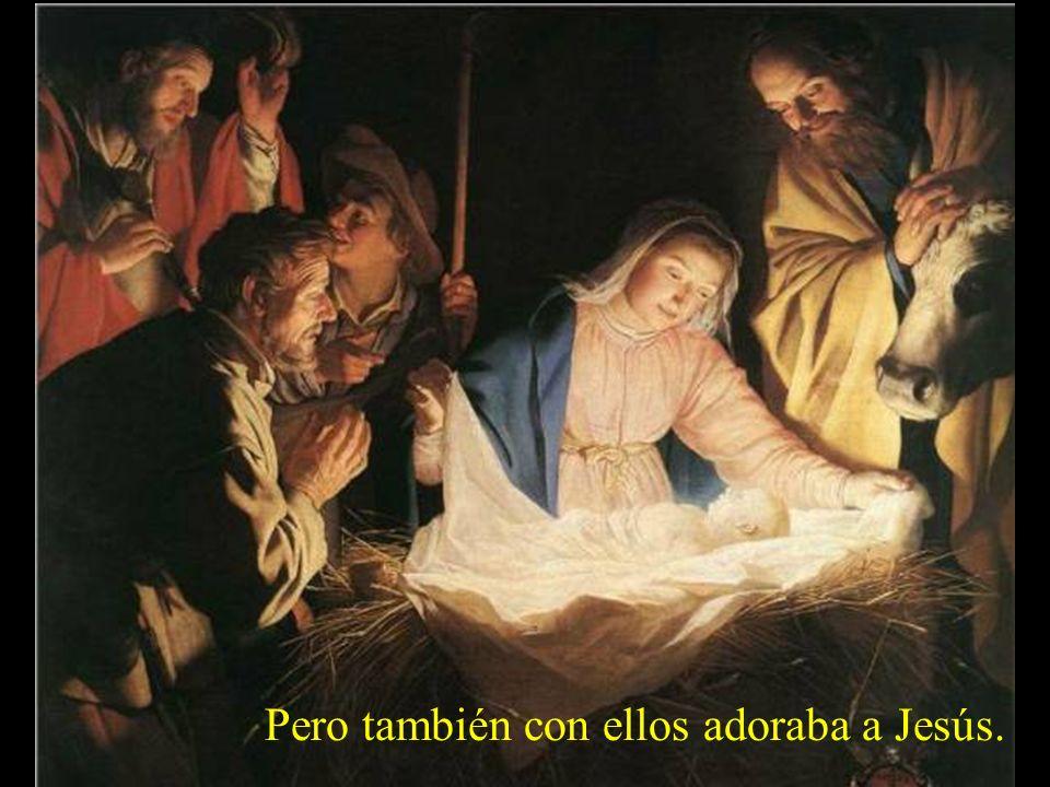 Luego vinieron los pastores, alegres por el anuncio del ángel. San José estaba rendido de cansancio...