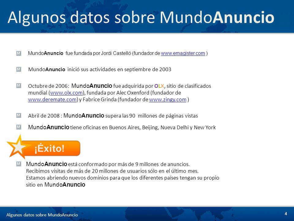 4 MundoAnuncio fue fundada por Jordi Castelló (fundador de www.emagister.com )www.emagister.com MundoAnuncio inició sus actividades en septiembre de 2
