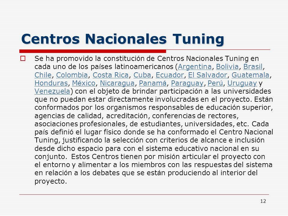 12 Centros Nacionales Tuning Se ha promovido la constituci ó n de Centros Nacionales Tuning en cada uno de los pa í ses latinoamericanos (Argentina, B