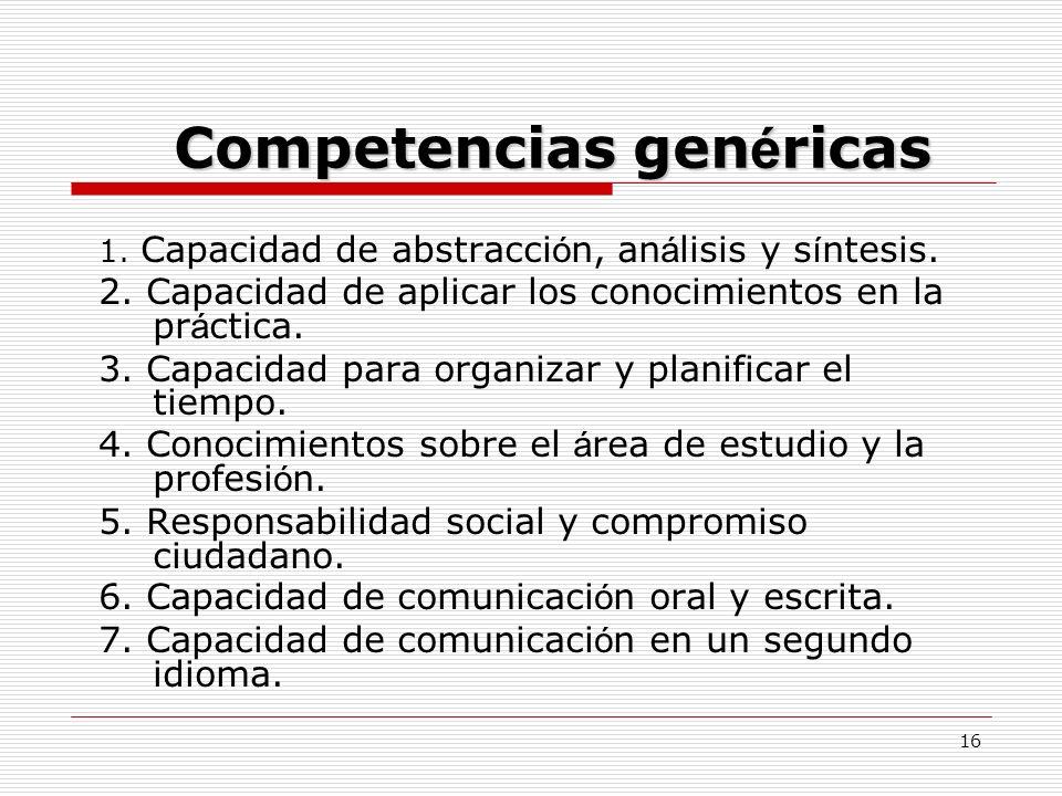 16 Competencias gen é ricas 1. Capacidad de abstracci ó n, an á lisis y s í ntesis. 2. Capacidad de aplicar los conocimientos en la pr á ctica. 3. Cap