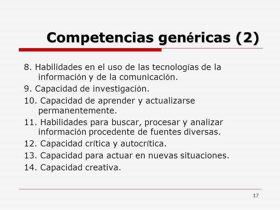 17 Competencias gen é ricas (2) 8. Habilidades en el uso de las tecnolog í as de la informaci ó n y de la comunicaci ó n. 9. Capacidad de investigaci