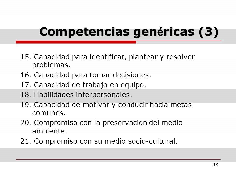 18 Competencias gen é ricas (3) 15. Capacidad para identificar, plantear y resolver problemas. 16. Capacidad para tomar decisiones. 17. Capacidad de t