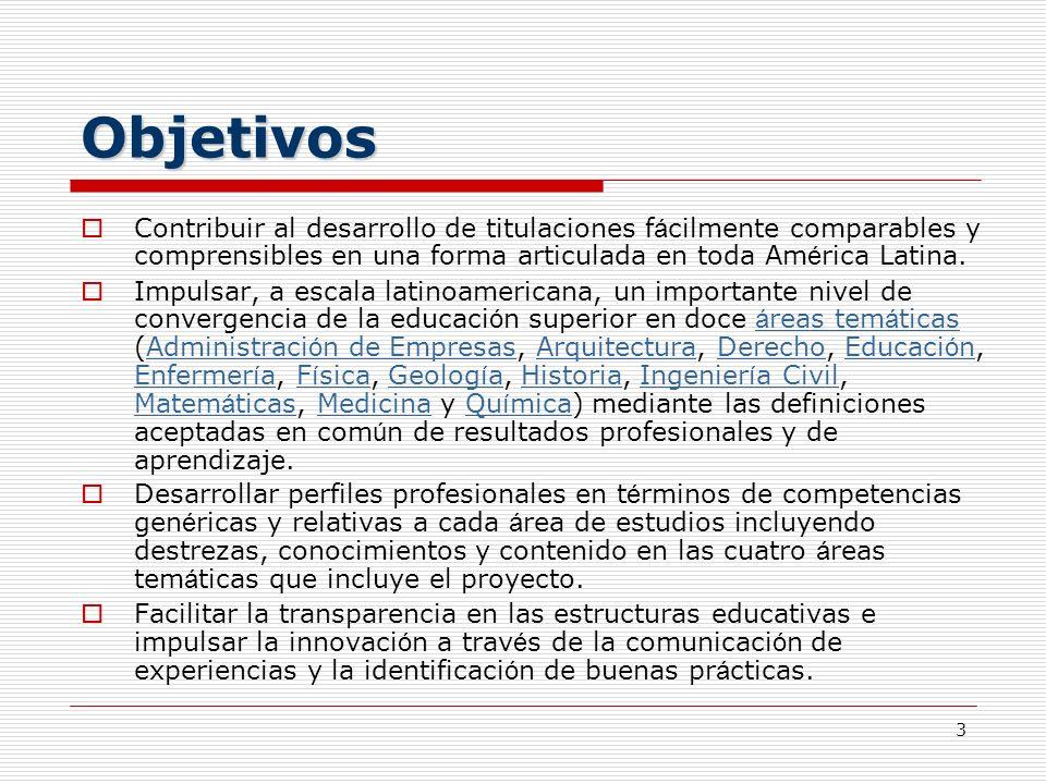 3 Objetivos Contribuir al desarrollo de titulaciones f á cilmente comparables y comprensibles en una forma articulada en toda Am é rica Latina. Impuls
