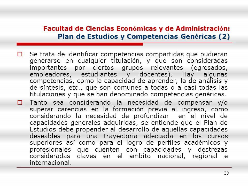 30 Facultad de Ciencias Econ ó micas y de Administraci ó n: Plan de Estudios y Competencias Gen é ricas (2) Se trata de identificar competencias compa