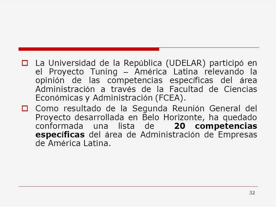 32 La Universidad de la Rep ú blica (UDELAR) particip ó en el Proyecto Tuning – Am é rica Latina relevando la opini ó n de las competencias espec í fi