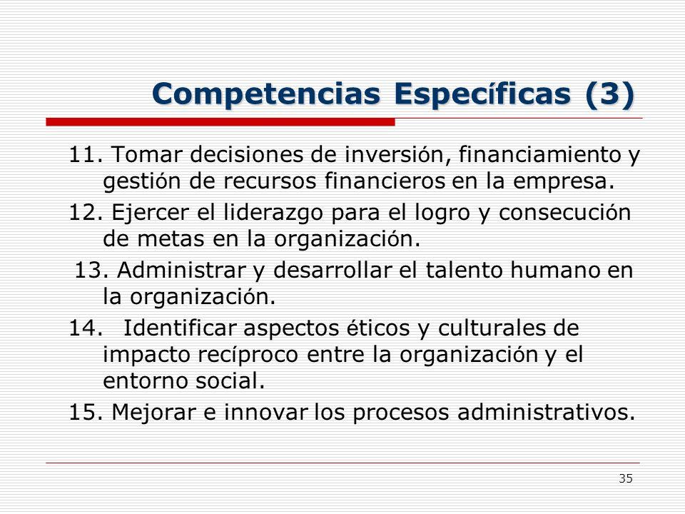 35 Competencias Espec í ficas (3) 11. Tomar decisiones de inversi ó n, financiamiento y gesti ó n de recursos financieros en la empresa. 12. Ejercer e