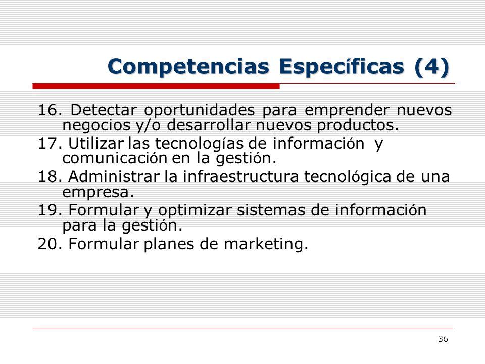 36 Competencias Espec í ficas (4) 16. Detectar oportunidades para emprender nuevos negocios y/o desarrollar nuevos productos. 17. Utilizar las tecnolo