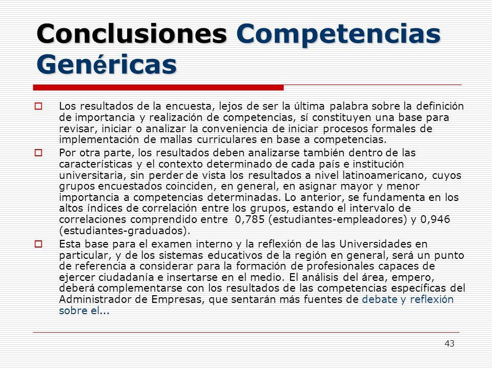 43 Conclusiones Competencias Gen é ricas Los resultados de la encuesta, lejos de ser la ú ltima palabra sobre la definici ó n de importancia y realiza
