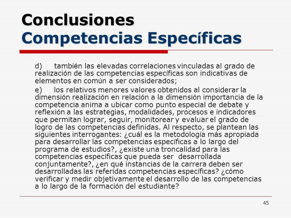 45 Conclusiones Competencias Espec í ficas d) tambi é n las elevadas correlaciones vinculadas al grado de realizaci ó n de las competencias espec í fi