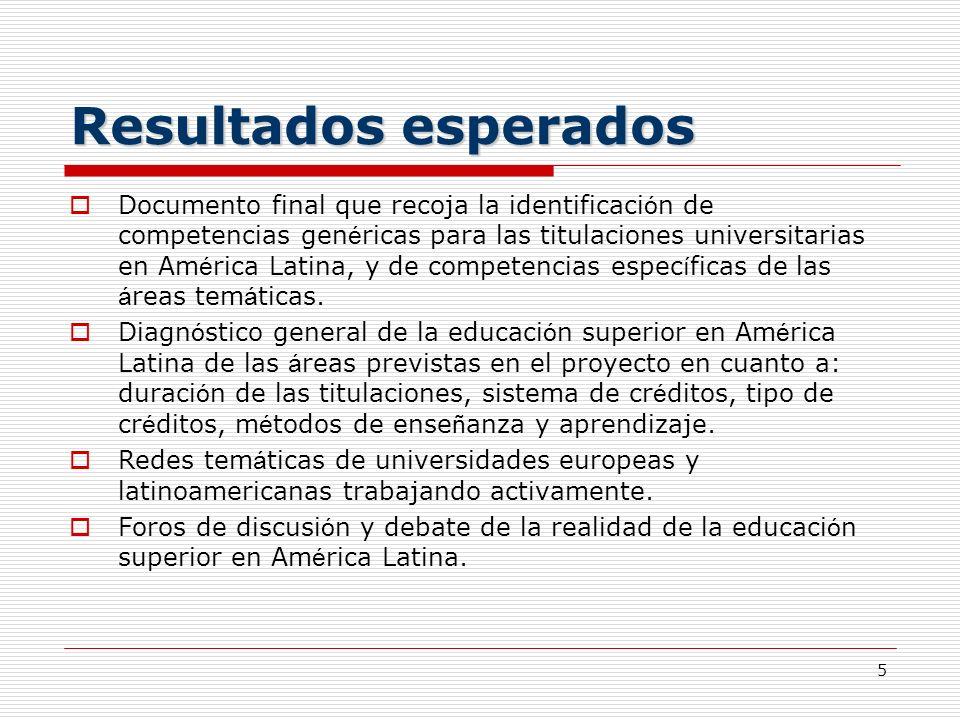 5 Resultados esperados Documento final que recoja la identificaci ó n de competencias gen é ricas para las titulaciones universitarias en Am é rica La
