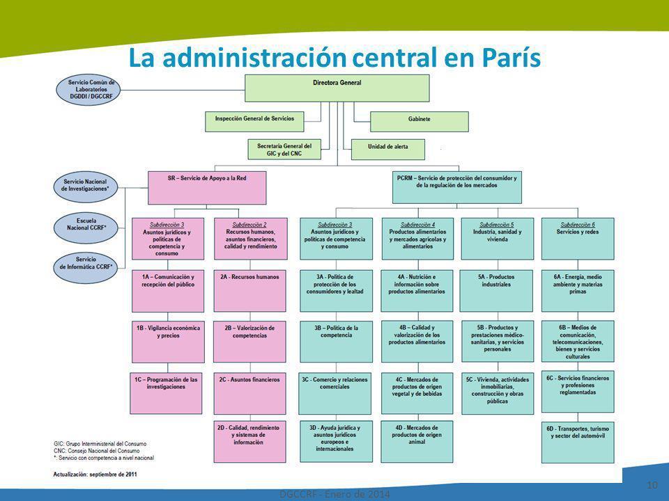DGCCRF - Enero de 2014 10 La administración central en París