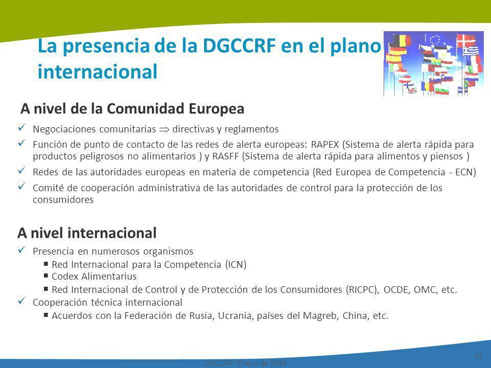 DGCCRF - Enero de 2014 15 La presencia de la DGCCRF en el plano internacional A nivel de la Comunidad Europea Negociaciones comunitarias directivas y