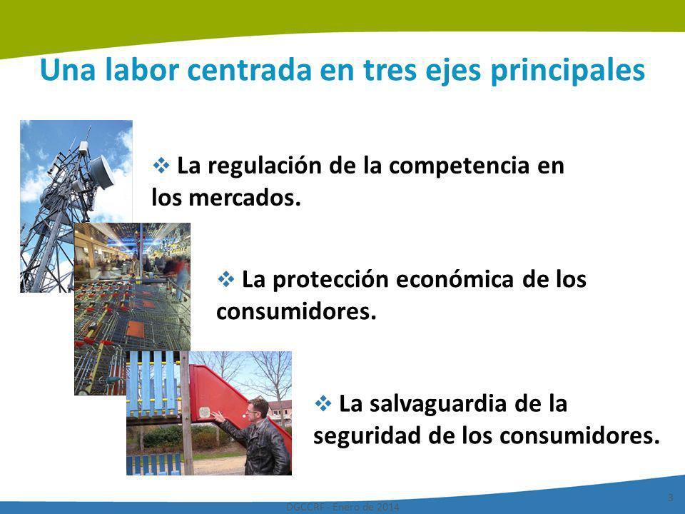 DGCCRF - Enero de 2014 3 Una labor centrada en tres ejes principales La regulación de la competencia en los mercados. La protección económica de los c