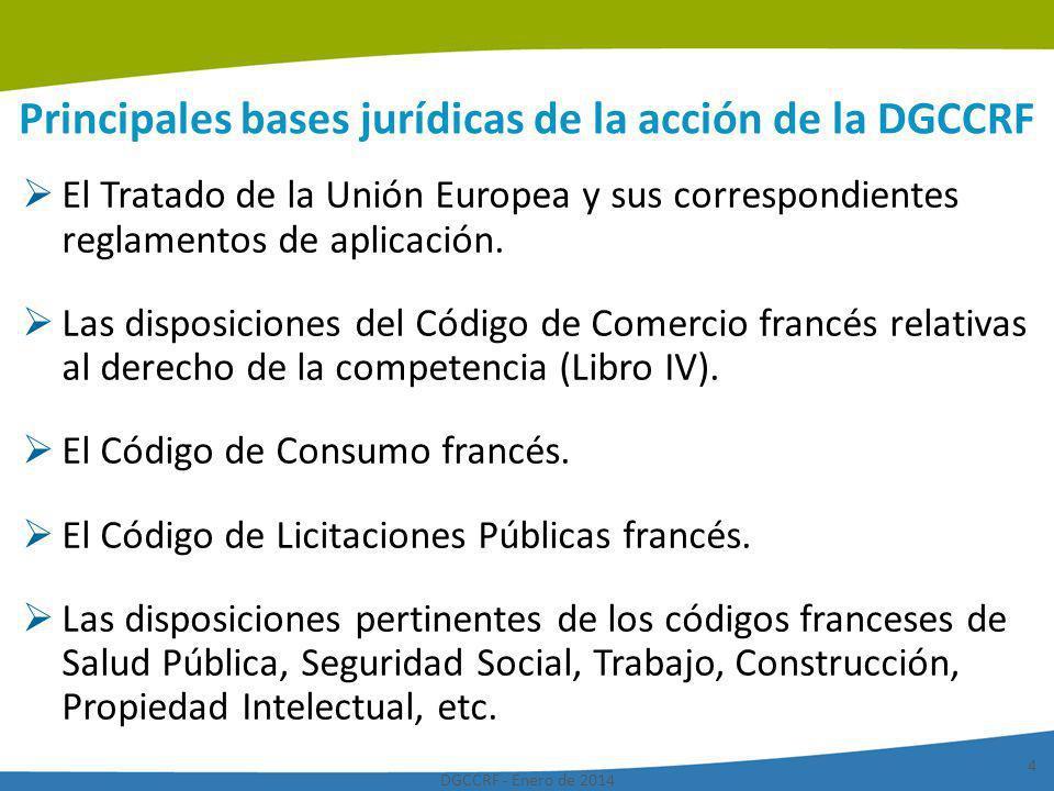 DGCCRF - Enero de 2014 15 La presencia de la DGCCRF en el plano internacional A nivel de la Comunidad Europea Negociaciones comunitarias directivas y reglamentos Función de punto de contacto de las redes de alerta europeas: RAPEX (Sistema de alerta rápida para productos peligrosos no alimentarios ) y RASFF (Sistema de alerta rápida para alimentos y piensos ) Redes de las autoridades europeas en materia de competencia (Red Europea de Competencia - ECN) Comité de cooperación administrativa de las autoridades de control para la protección de los consumidores A nivel internacional Presencia en numerosos organismos Red Internacional para la Competencia (ICN) Codex Alimentarius Red Internacional de Control y de Protección de los Consumidores (RICPC), OCDE, OMC, etc.