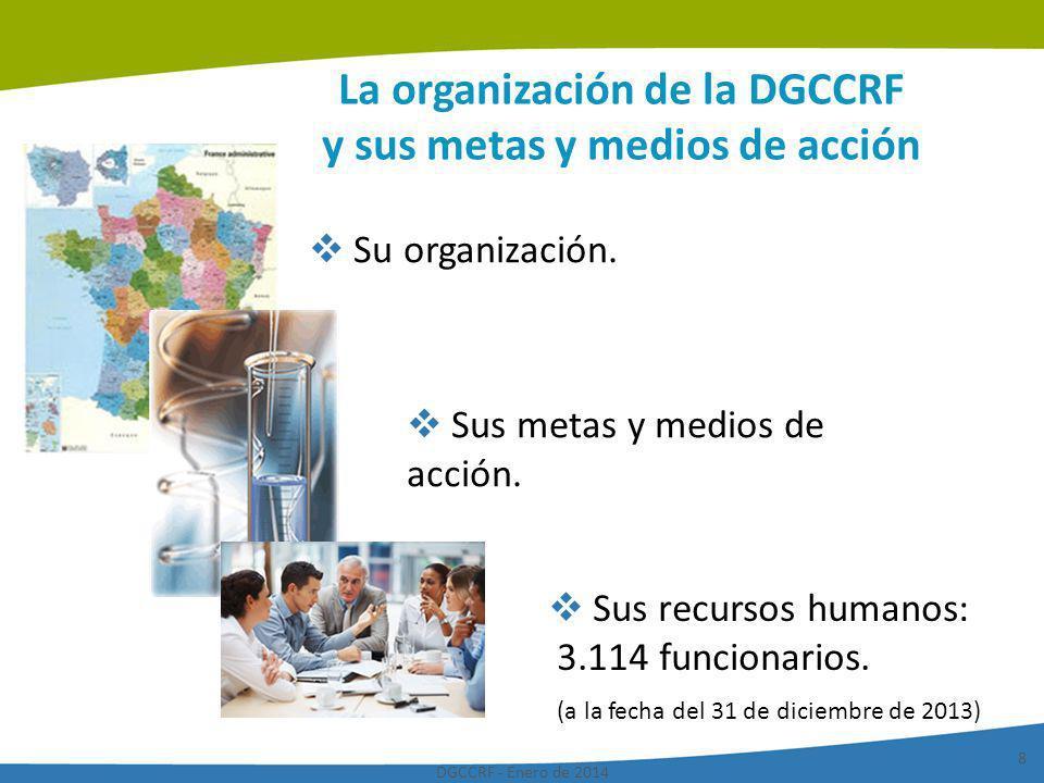 DGCCRF - Enero de 2014 8 La organización de la DGCCRF y sus metas y medios de acción Sus metas y medios de acción. Su organización. Sus recursos human