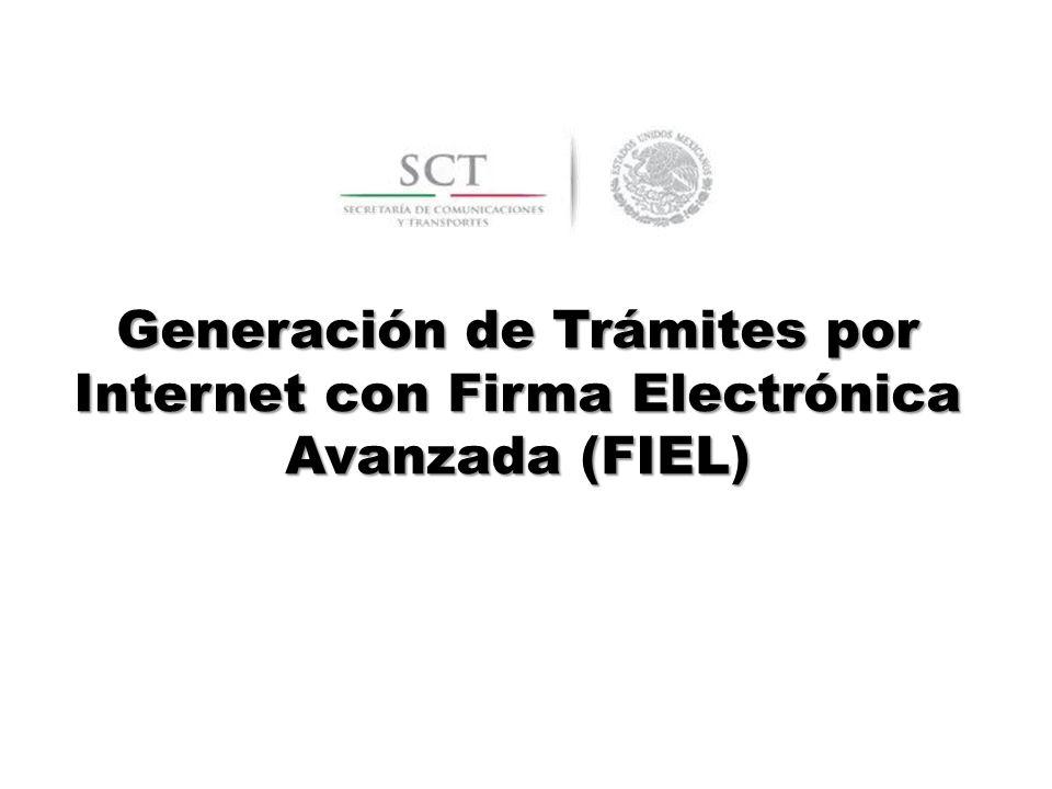 Generación de Trámites por Internet con Firma Electrónica Avanzada (FIEL)
