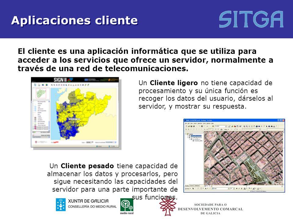 Aplicaciones cliente El cliente es una aplicación informática que se utiliza para acceder a los servicios que ofrece un servidor, normalmente a través