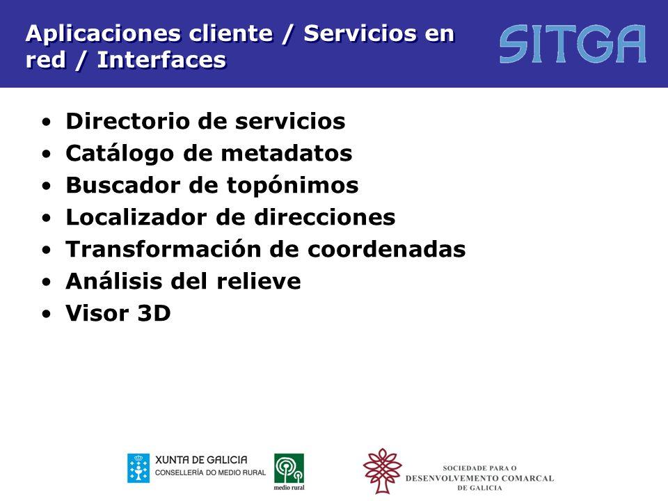 Aplicaciones cliente / Servicios en red / Interfaces Directorio de servicios Catálogo de metadatos Buscador de topónimos Localizador de direcciones Tr