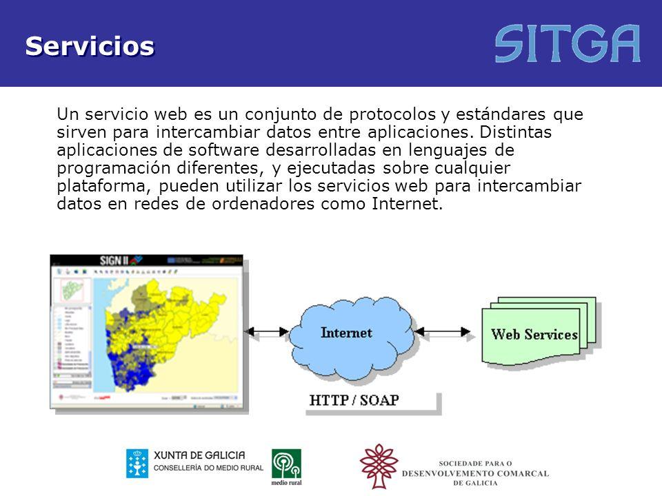 Servicios Un servicio web es un conjunto de protocolos y estándares que sirven para intercambiar datos entre aplicaciones. Distintas aplicaciones de s