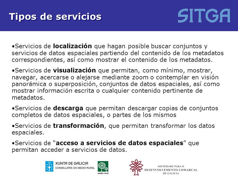 Tipos de servicios Servicios de localización que hagan posible buscar conjuntos y servicios de datos espaciales partiendo del contenido de los metadat