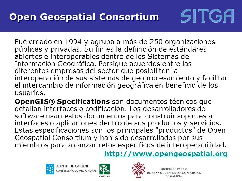 Open Geospatial Consortium Fué creado en 1994 y agrupa a más de 250 organizaciones públicas y privadas. Su fin es la definición de estándares abiertos