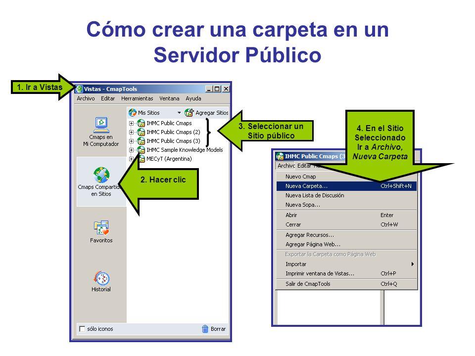 Cómo crear una carpeta en un Servidor Público 2. Hacer clic 1. Ir a Vistas 3. Seleccionar un Sitio público 4. En el Sitio Seleccionado Ir a Archivo, N