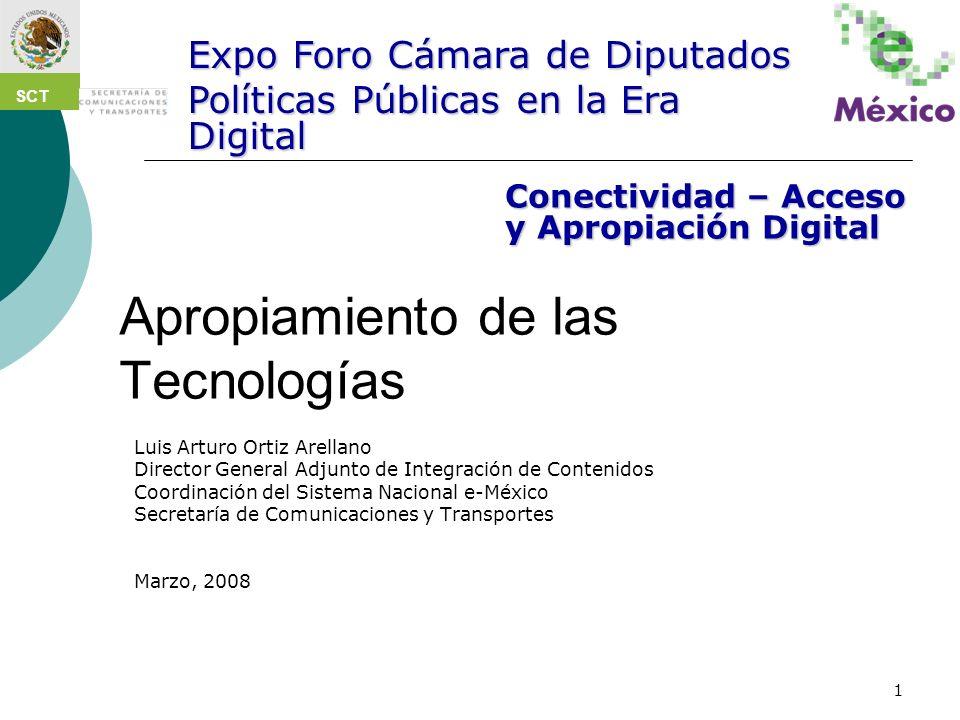 1 Apropiamiento de las Tecnologías Luis Arturo Ortiz Arellano Director General Adjunto de Integración de Contenidos Coordinación del Sistema Nacional
