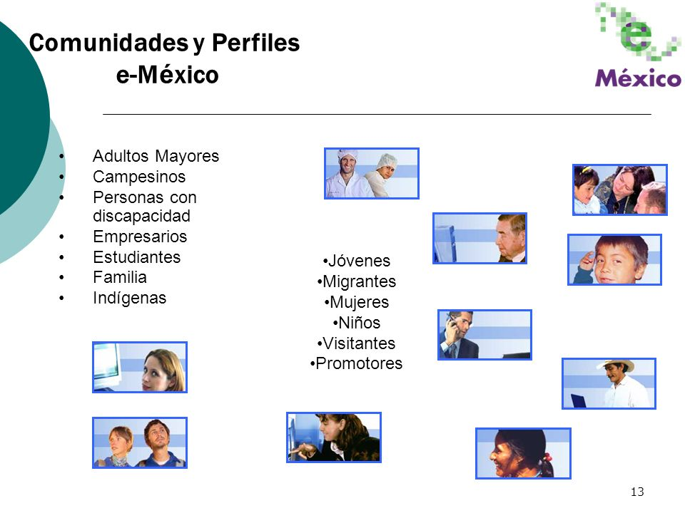 13 Adultos Mayores Campesinos Personas con discapacidad Empresarios Estudiantes Familia Indígenas Jóvenes Migrantes Mujeres Niños Visitantes Promotore